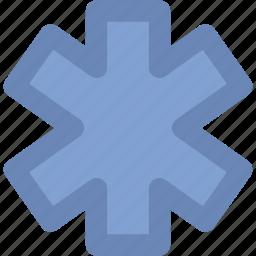 emergency, emergency symbol, healthcare, medical, medical star, medical symbol, star of life icon