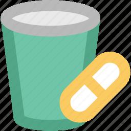 capsules, capsules container, medical drugs, medications, medicine, medicine jar icon