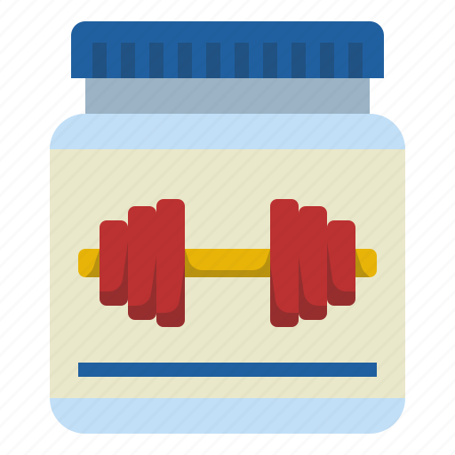 bodybuilder, gym, muscle, protein, supplyments, whey icon