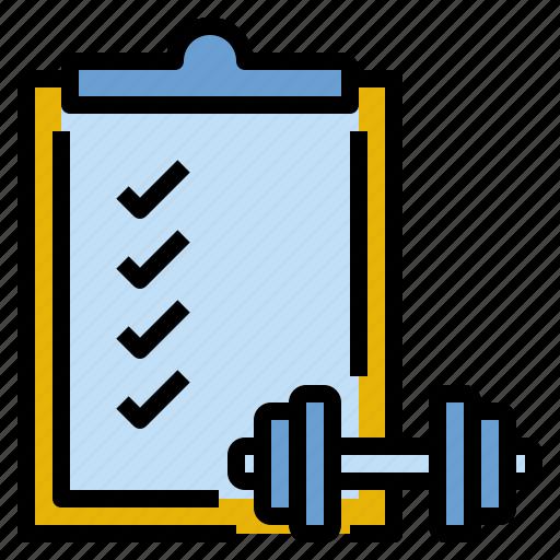 checklist, exercise, gym, list, routine, training icon
