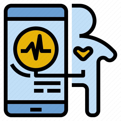 check, health, heart, mobile, monitoring, rate, status icon