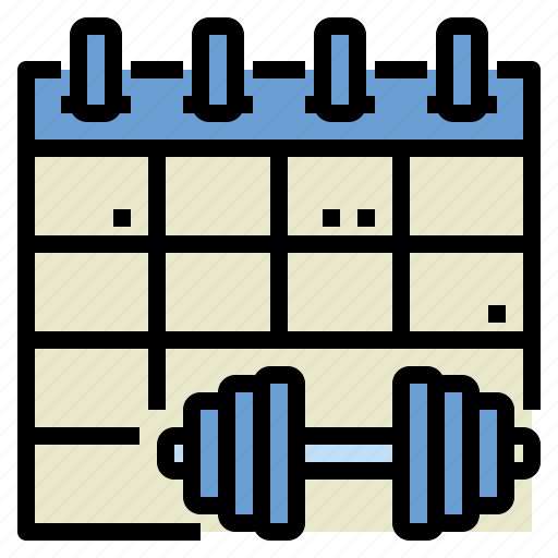 exercise, fitness, gym, health, schedule, workout icon