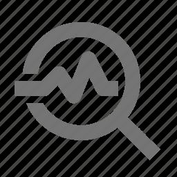 healthcare, magnify, pulse, search, view icon