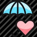 insurance, umbrella, heart