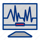 check up, control, doctor, electrocardiogram, exam, heartbeat, monitor icon