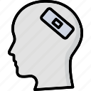 bandage, head injury, human head, injury aid, wound aid icon