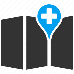 clinic, gps, hospital, location, map, marker, navigation icon