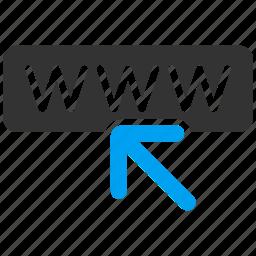 address, arrow, internet, network, web site, website, www icon