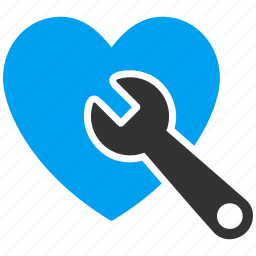 care, heart, repair, surgery, treatment, valentine, wrench icon