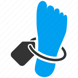 body, corpse, dead patient, death, foot, morgue, mortuary tag icon