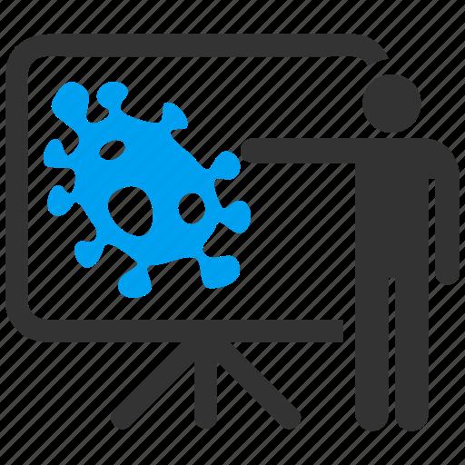 analytics, bacteria, diagram, lecture, presentation, report, virus icon