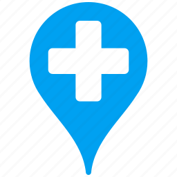 clinic, flag, location, map pointer, marker, navigation, pin icon