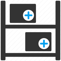 boxes, drugs, goods, medical, shelves, storage, warehouse icon
