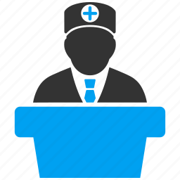 conference, doctor, lecture, minister, official, report, speech icon