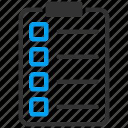checklist, form, items, menu, notepad, task list, test icon