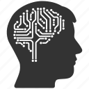 brain interface, digital intellect, electronic, idea, memory, mind, technology icon