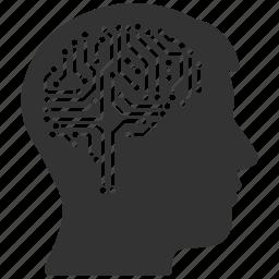brain interface, digital intellect, electronic, idea, memory, mind, technology icon