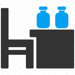 bottles, chair, desk, drugstore, office, shop, table icon
