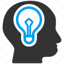brain, bulb, idea, lamp, mind, power icon