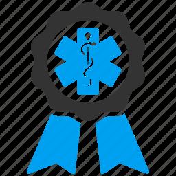 certified, healthcare, hospital, medal, medical, medicine, stamp icon
