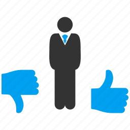 client, customer, decision, manager, thumb up, tnumb down, vote icon
