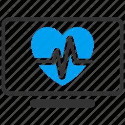 cardio, ecg, electrocardiogram, heart, heartbeat, monitoring, pulse icon