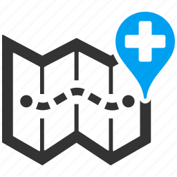 clinic, gps, hospital, location, map, medical, navigation icon
