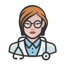 coronavirus, doctor, female, white icon