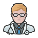 coronavirus, doctor, male, white icon