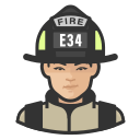 asian, coronavirus, female, firefighter icon
