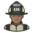 black, coronavirus, female, firefighter icon