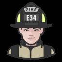 coronavirus, female, firefighter, white