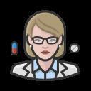 coronavirus, female, pharmacist, white icon