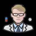 coronavirus, male, pharmacist, white icon
