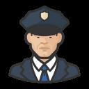 asian, coronavirus, male, police icon