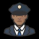 black, coronavirus, male, police icon