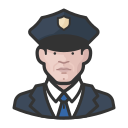 coronavirus, male, police, white icon