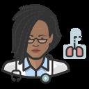 african, coronavirus, female, pulmonologist icon