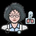 coronavirus, female, pulmonologist, white