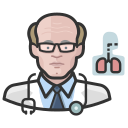 coronavirus, male, pulmonologist, white icon