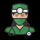 asian, coronavirus, female, surgeon icon