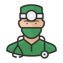asian, coronavirus, male, surgeon icon