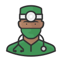 black, coronavirus, male, surgeon icon