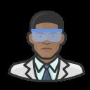 black, coronavirus, male, virologist icon