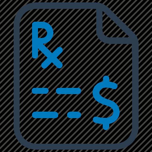medical report, patient report, prescription, rx icon