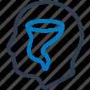 dizziness, dizzy, head, head scratch icon