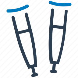 crutches, healthcare, medical equipment icon
