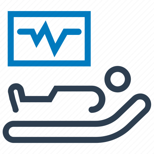 cardiogram, hospital bed, medical supervision, medical treatment, patient icon