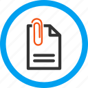 attach, attached, attachment, document, fastener, paper clip, paperclip icon