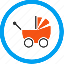 baby carriage, infant, kid, newborn, perambulator, pram, transport icon